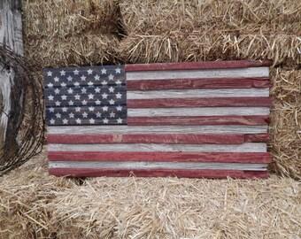 American Rustic Barnwood Flag