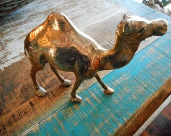 Vintage Solid Brass Etched Camel, very unique!!!