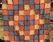 Ready To Ship Homemade Throw Quilt - Patchwork, Rag Quilt, Rustic Quilt, Primitive, Country Quilt, Farmhouse, Lap Quilt