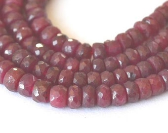 Ruby Beads Natural Untreated 3-4.5mm Red Beads 8 Inch Strand Faceted Precious Gemstone Pigeon Blood Take 20% Off Red Ruby Jewelry Supplies