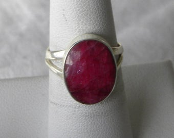 Ruby Ring Handmade Stunning 16x12mm Lovely Red Ruby Precious Gemstone Ring Sterling Silver Ring Size 7 1/4 Take 20% Off Women's Ruby Jewelry