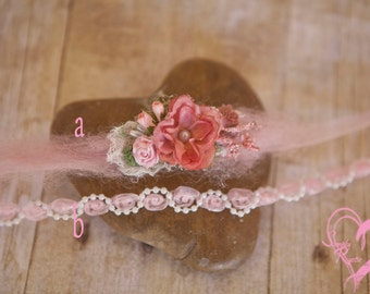 Perfect in Pinks Set of 2 Headties w Roses Pearl Pretty for Baby's first Photos Soft Pinks Mauve Blush Pinks Perfection*Ships free