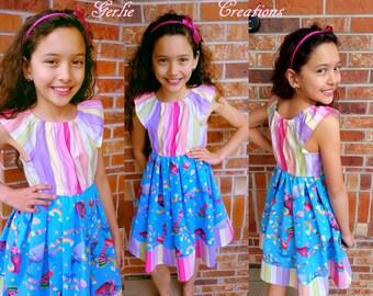 Girls Rainbow TROLLS Dress, Girls Dress, Rainbows & Cupcakes, Poppy, Guy Diamond, Cooper, Trolls Matilda Dress -  2T - 8