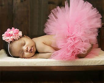 Newborn Tutu and Headband Set... Pink Tutu... Baby Tutu...Photography Prop...Tutu...Pink Prop Set...Newborn Tutu...Newborn Headband