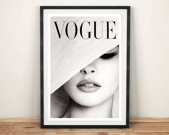 vogue magazine cover vintage black and white hat fashion. Black Bedroom Furniture Sets. Home Design Ideas