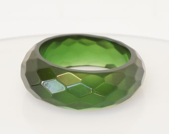 CHUNKY GREEN  bangle - extra wide chunky green bangle - comes to life in sunshine -  vintage  chunky green bangle - semi translucent