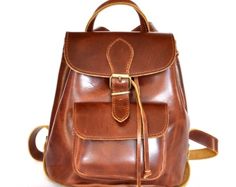 Small leather backpack / Women shiny brown leather backpack / Small leather pouch