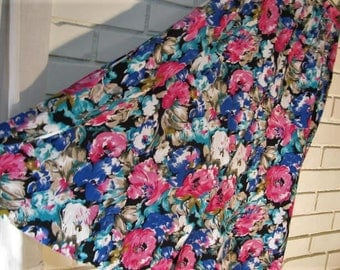 90's full floral rayon button front maxi skirt size 12 with pockets