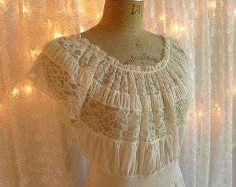 Vintage Night Gown Ivory Long Radcliffe Nighty Full Length Lace and Nylon Gown Nightgown