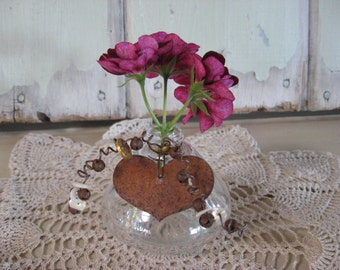Jar Repurposed Anything Jar Bottle Small Round with Rusty Heart Vintage Old Buttons Bells Glass Vase Home Decor Shelf Sitter Window Decor