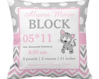 Kitty Cat Pink Birth Announcement Pillow Cover and Insert