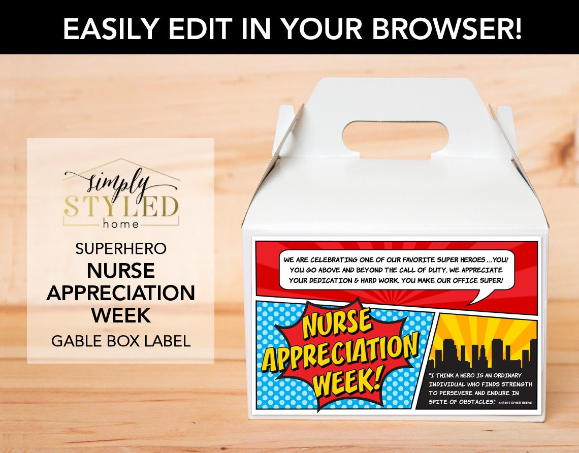 Box Label: EDITABLE Superhero Gable Box Label NURSE Appreciation Week