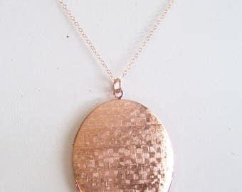 Large Rose Gold Locket, Rose Gold Filled Chain, Basketweave Locket, Rose Gold Oval Locket, Textured Locket, Photo Locket