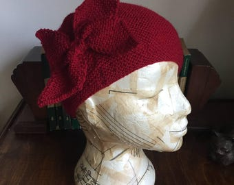 hand knitted 1930s beret