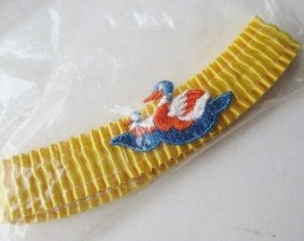 Vintage 60s NOS Yellow Embroidered Ducks Garters for Hot Pants Leg Garter