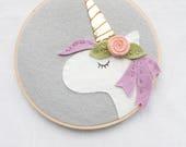 Nursery Wall Art - Unicorn Room Decor - Unicorn  Wall Art - Boho Baby - Felt Embroidery Hoop Art - Girl Room Decor - Unicorn Party Gift