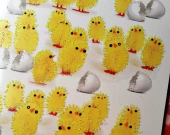 """Glittered Easter Card ~ 5"""" x 7"""" Hand-Glittered Yellow Peeps and Eggs, Fuzzy Peep Show, with Inside Message and Envelope"""