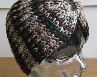 Vintage style hand knit turban hat in cammo wool