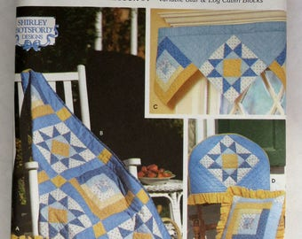 Quilt Block Pattern, Quilt Pattern, Simplicity 9169, UNCUT, Wall Quilt, Chair Back Cover, Quilted Pillow, Valance, Variable Star,  Log Cabin