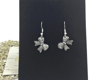 Silver Bow Earrings, Dangling Bows, Gift for Girl or Woman, Gift Under 50, Stocking Stuffer
