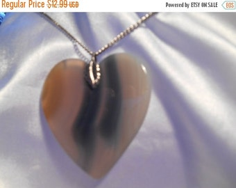 50% OFF SALE Large Polished Agate Heart Pendant on Silver Tone Chain