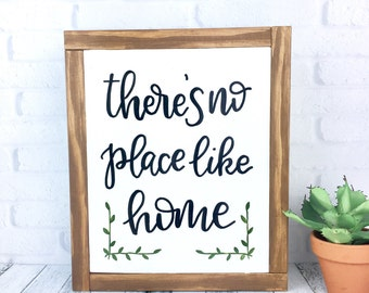 There's No Place Like Home Sign, Framed Wood Rustic Hand Painted Neutral Home Decor, Handmade Wall Hanging, white Gallery Wall Sign