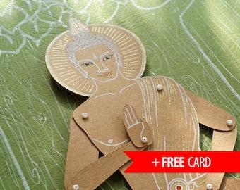 Articulated paper doll Buddha Gautama paper puppet marionette greeting card buddhism buddhist yogi spiritual meditation zen yoga asana budda