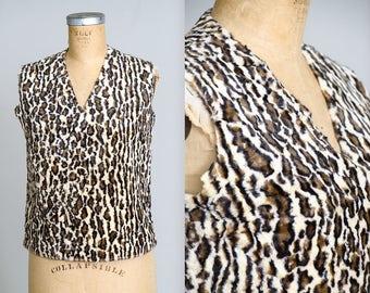 1950s Leopard Print Faux Fur Rockabilly Blouse