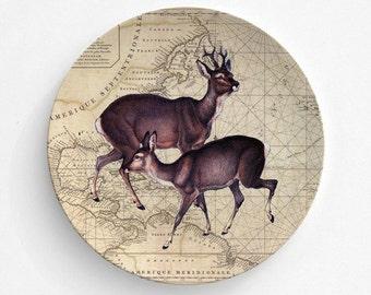 Christmas Deers Melamine Plate, Map Melamine Plate, Christmas Deers, decorative plate, Dinner Plate, Serving Plate