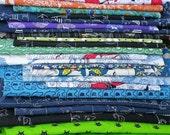Fabric pieces. Quilting fabric. Patchwork scraps.