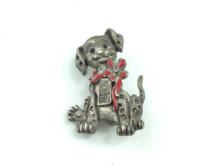 Unique Vintage Disney Dog Brooch, Dog Brooch with Red Bow. Pot metal Dog Brooch. Puppy Dog Pin. Cute brooches. Dalmation Brooch. Santa love.