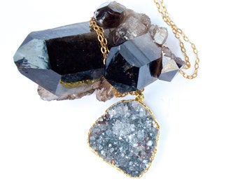 SALE-Druzy- Pale Blue/Grey-Raw mineral-Crystal- Sparkling Pendant/Necklace