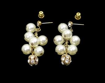 White Pearl & Rhinestone Earrings, Long Pierced Clusters, Rhinestone Disco Balls, Bridal Earrings, Chandelier Earrings, Gift For Her