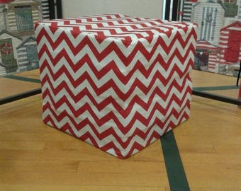 "Ships today - Red or Cool Grey Premier Prints Chevron 16"" x 16"" Pouf Ottoman cover,  *Cover Only*"