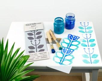 Sanna Flower Border Stencil - Stencil MiNiS from The Stencil Studio. Handy Reusable Scandi Stencil for Home Decor, Furniture and Crafts