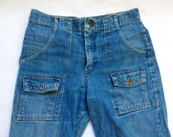 Vintage Wranglers Student Fit Flared Distressed Jeans