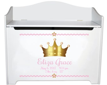 Personalized Toy Box Custom Princess Prince Toybox White Toy Box Bench Royal Nursery Pink Blue Baby Girl New Boy Birth Stats  BENC-whicrown