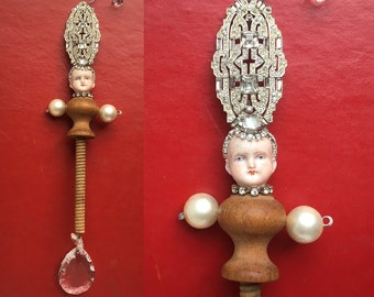 mixed media assemblage, altered art doll, queen art, doll head ornament, by Elizabeth Rosen