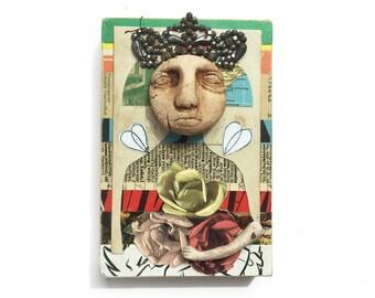 Queen Bee, 4x6 small original mixed media assemblage, primitive animal art, original collage art by Elizabeth Rosen