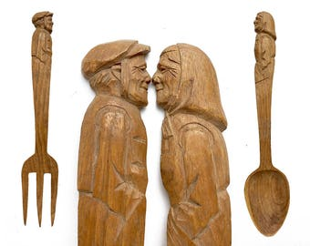 salad serving set, Vintage Fork and Spoon, Figural Carved Wood, old man and woman, happy couple, wooden wedding gift