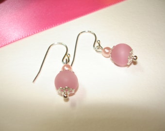 PINK EARRINGS - Frosted pink glass beads - Pearly beads - Silver tone ball tip ear wires