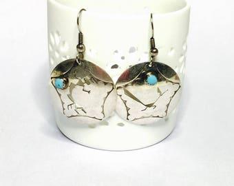 Vintage Round Silver Zuni Pendant, Bird Design, native earrings, Clearance Sale, Item No. S091