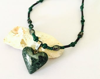 Vintage Malachite  Pendant, carved stone, Green Heart, Ethnic Design, beaded, Clearance Sale, Item No. S793