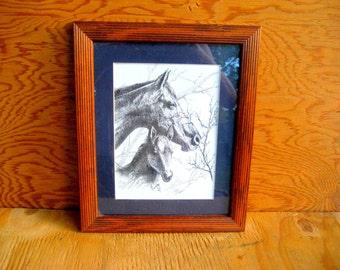 Vintage horse art.  western art.  cowboy art.  wall art. art print.