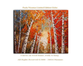 Wall Art Fall in Birch Forest Landscape Giclee PRINT on Canvas Gift Modern Home Decor ready to hang
