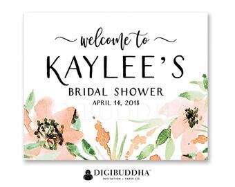 Floral Bridal Shower Welcome Sign Custom Floral Watercolor Sign Party Decor Welcome Sign Party Decor Sign DiY Printable or Printed - Kaylee