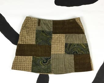 90s Patchwork Corduroy Olive Green and Brown Paisley Plaid Mini Skirt / Grunge / Clueless / y2k / Alloy / Delias / Skater / Size 10 / Sassy