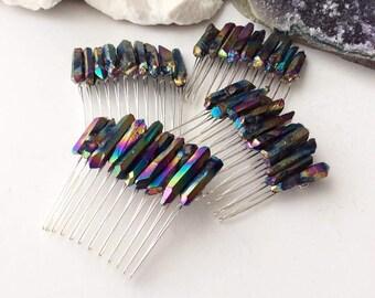 Druzy Hair Comb | Titanium Rainbow Druzy | Quartz Crystal