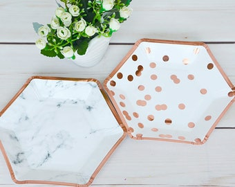 Rose Gold Dessert Plates, Rose Gold Paper Plates, Polka Dot Marble Design, Bridal Shower, Cake Table, Birthday Party, Modern Decor, Hexagon