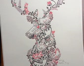 Five Pound Friday sale item, Deer Head Print, Stags Head Large Screenprint, Stags Head Poster